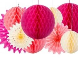 3-teiliges Set mit Wabenbällen aus Seidenpapier - mädchenhafte Farben