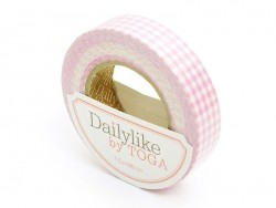 Fabric tape - pink gingham pattern