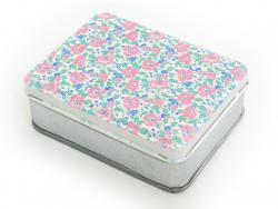 Petite boîte de rangement fleurie - rose et bleu