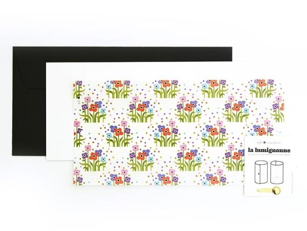 Carte postale photophore Fleuri folk - Lumignonne par Fifi Mandirac
