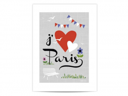 "Mini-affiche ""J'aime Paris"""
