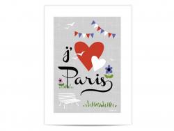 "Mini poster ""J'aime Paris"" (I love Paris)"
