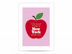 """Mini-affiche """"Un jour j'irai à New york avec toi"""""""