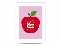 """Mini-Poster """"Un jour j'irai à New York avec toi"""" (Eines Tages fahre ich mit dir nach New York)"""