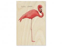 """1 carte postale en bois - """"Flamant rose"""""""