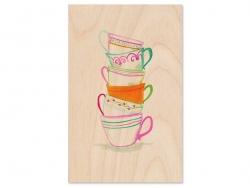 "1 Postkarte aus Holz - ""Tassen"""