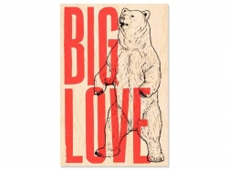 "1 carte postale en bois - ""Big Love"""