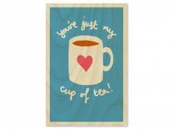 "1 carte postale en bois - ""Cup of tea"" Timbergram - 1"