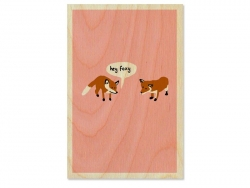 "1 Postkarte aus Holz - ""Hey Foxy"""