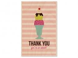 """1 Postkarte aus Holz - """"Thank You / Eis"""""""