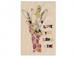 "1 carte postale en bois - ""girafe"""