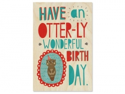 "1 carte postale en bois - ""wonderful birthday"""