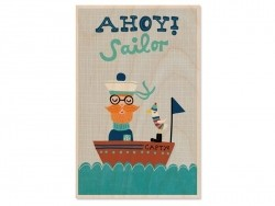 "1 carte postale en bois - ""Sailor"""