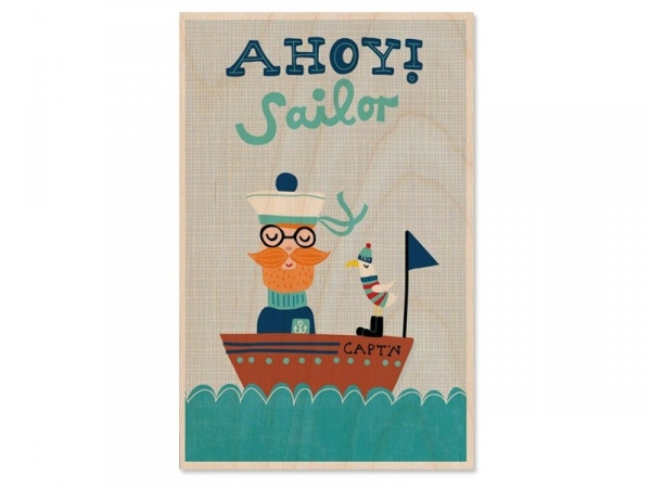 "1 wooden postcard - ""Ahoy! Sailor"""