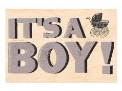 """1 carte postale en bois - """"BOY"""""""