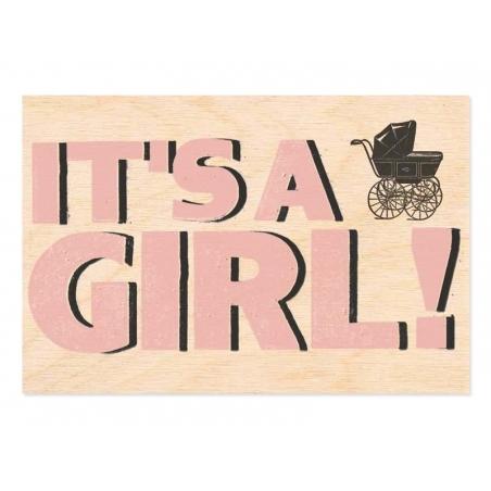 """1 carte postale en bois - """"It's a girl"""""""