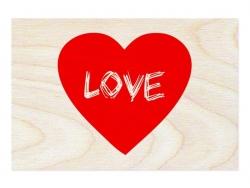 """1 carte postale en bois - """"Coeur love"""""""