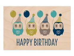 "1 wooden postcard - ""Happy Birthday"", with owls"