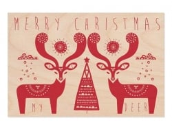 "1 carte postale en bois - ""Merry christmas"" - rouge"