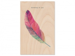 "1 carte en bois - "" Thinking of you"""