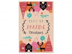 "1 carte en bois - ""Have an amazing Christmas"""