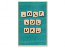 """1 carte en bois - """"Love you Dad"""""""