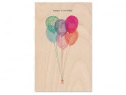 "1 carte en bois - ""Happy Birthday"" Ballons"