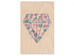 "1 carte en bois - ""Diamant"""