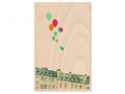 """1 carte en bois - """"Ballons dans le ciel"""""""