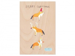 "1 carte en bois - ""Merry Christmas"""