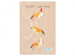 """1 Karte aus Holz - """"Merry Christmas"""""""