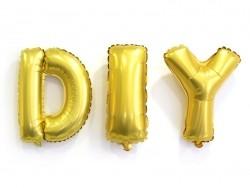 1 goldfarbener Buchstabenballon (40 cm) - Buchstabe Y