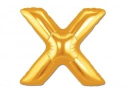 1 goldfarbener Buchstabenballon (40 cm) - Buchstabe X