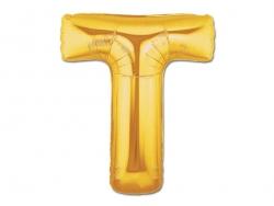 1 ballon alphabet doré 40 cm - lettre T