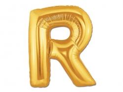 1 goldfarbener Buchstabenballon (40 cm) - Buchstabe R