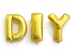 1 goldfarbener Buchstabenballon (40 cm) - Buchstabe P