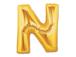 1 goldfarbener Buchstabenballon (40 cm) - Buchstabe N