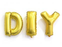 1 goldfarbener Buchstabenballon (40 cm) - Buchstabe M