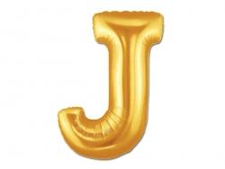 1 goldfarbener Buchstabenballon (40 cm) - Buchstabe J
