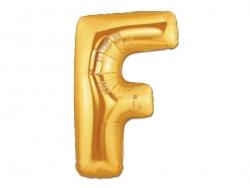 1 goldfarbener Buchstabenballon (40 cm) - Buchstabe F