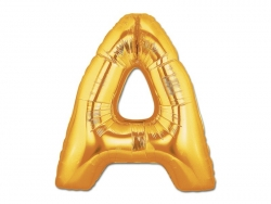 1 goldfarbener Buchstabenballon (40 cm) - Buchstabe A
