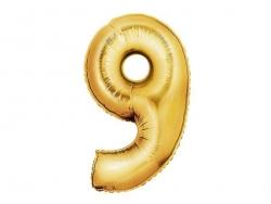 1 goldfarbener Zahlenballon (40 cm) - Zahl 9