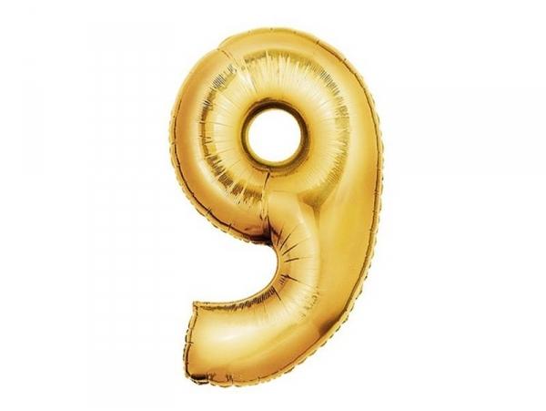 1 ballon chiffre doré 40 cm - numéro 9