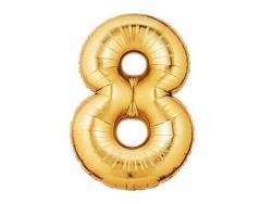 1 goldfarbener Zahlenballon (40 cm) - Zahl 8