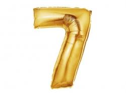 1 goldfarbener Zahlenballon (40 cm) - Zahl 7