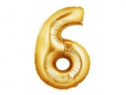 1 goldfarbener Zahlenballon (40 cm) - Zahl 6