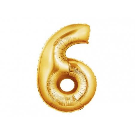 1 golden number balloon (40 cm) - number 6