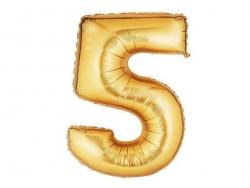 1 goldfarbener Zahlenballon (40 cm) - Zahl 5