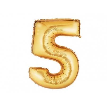 1 golden number balloon (40 cm) - number 5