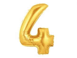1 goldfarbener Zahlenballon (40 cm) - Zahl 4